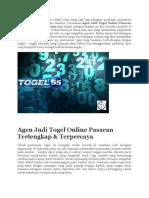 Agen Judi Togel Online Pasaran Terlengkap