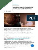 """Nibiru Streng Geheimer SpaceX-Satellit Sollte Planet X Untersuchen Und Wurde """"Verloren"""""""