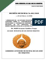 Decreto Municipal Nº 003-2018 Estado Financiero Gestion 2017