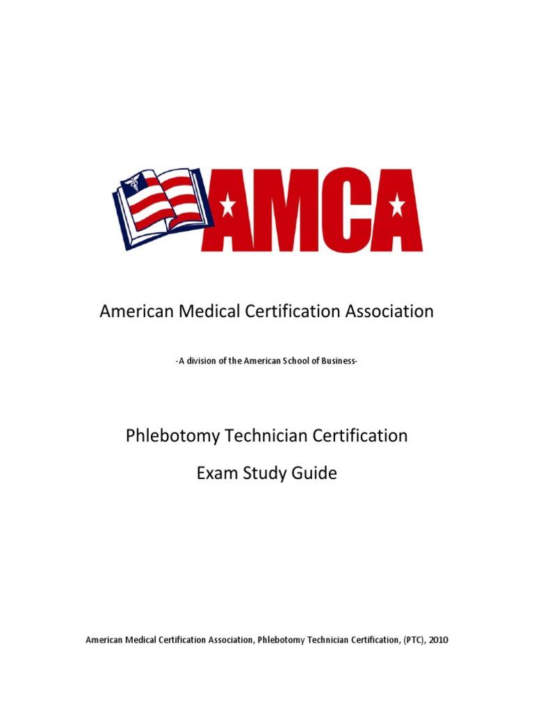 Amca Study Guide Phlebotomy Hemostasis Vein