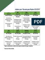 Calendario de Actividades Para El Dpto Psicologia 2018