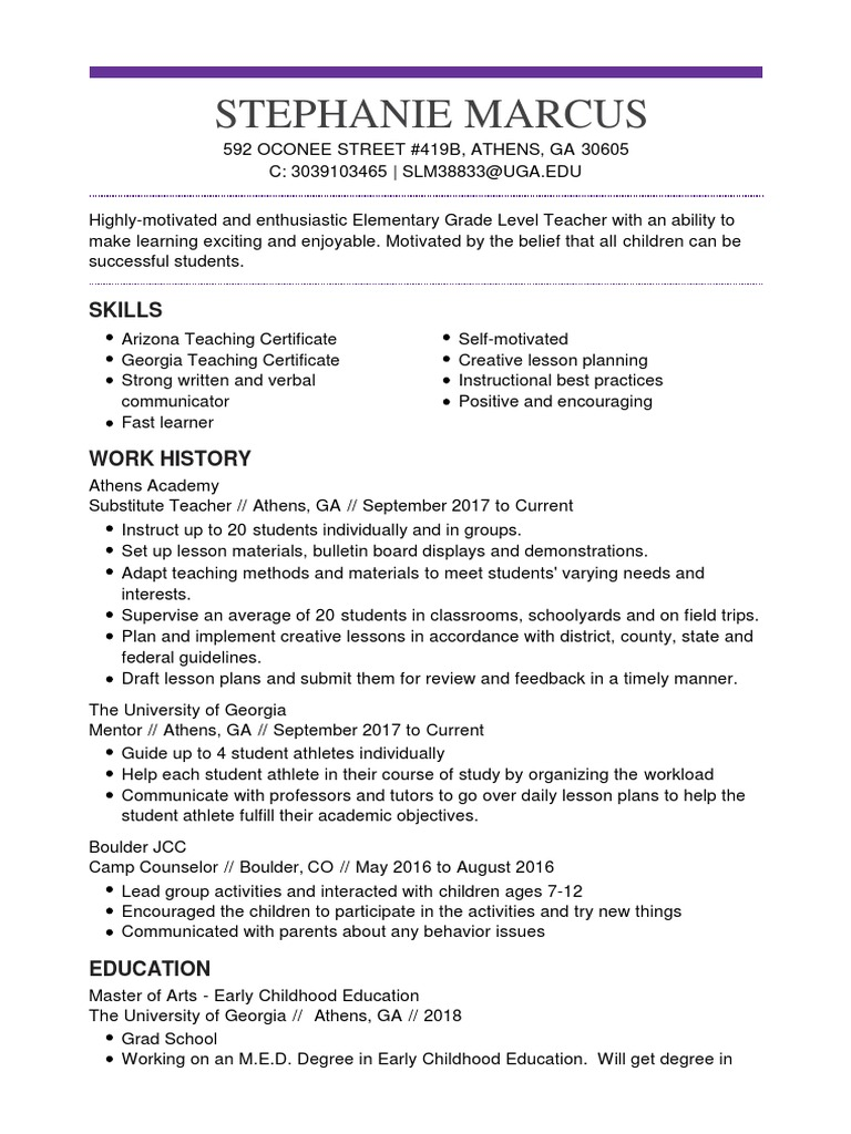 Stephanie Marcus Resume Lesson Plan Teachers