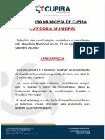 Relatório Da Ouvidoria Geral Do Município Mês de Setembro