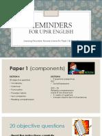 Reminders for UPSR English_P1 & P2 as at 9.3.18