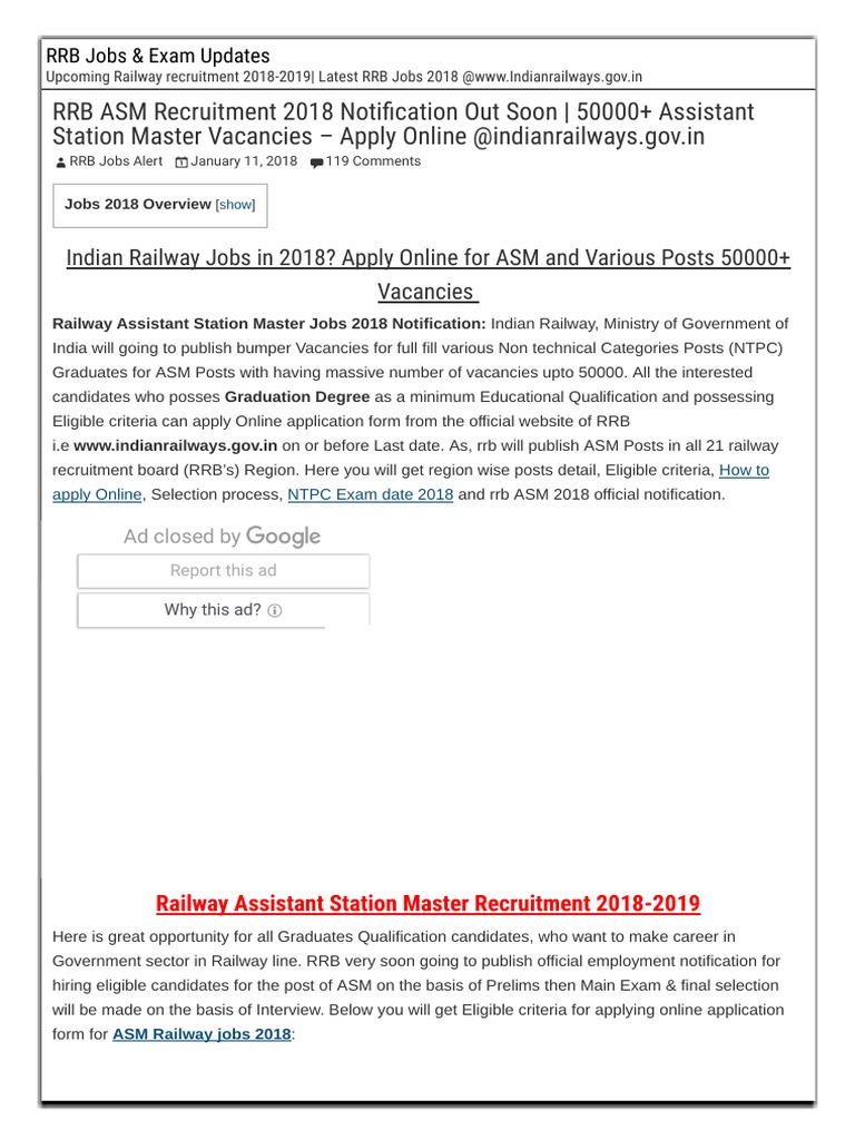 Rrb Asm Recruitment 2018 50000 Vacancy Apply Online Here