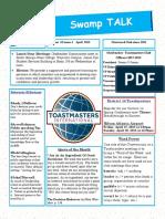 Swamp Talk, Okefenokee Toastmasters Newsletter, April 2018