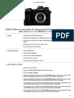 Panasonic DC G9KBODY SpecSheet