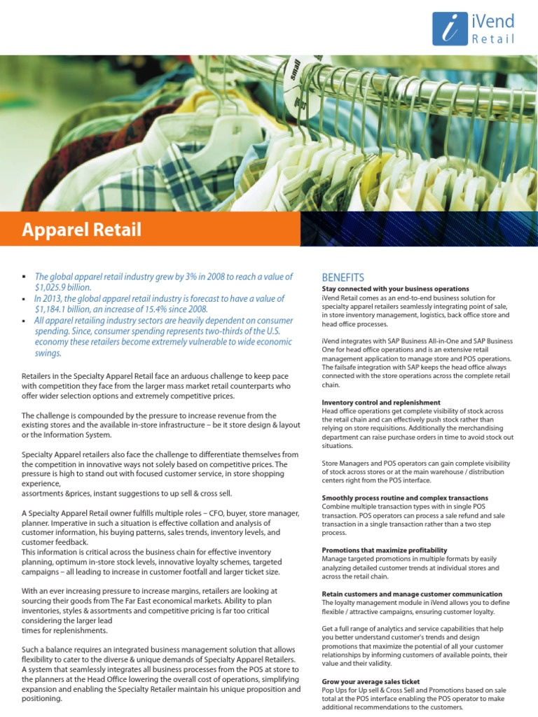 Apparel Retail Software - SAP Business One With iVend Retail