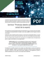Invitatie Seminar GDPR - Oradea