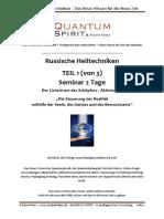 Russische Heiltechniken - Basis-Informationen zum Seminar Teil 1