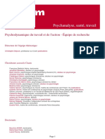 Psychodynamique Du Travail Et de l Action Equipe de Recherche