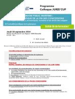 Programme Colloque Juris Cup 2014 s