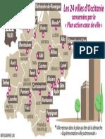 """Les 24 villes d'Occitanie concernées par le """"plan action coeur de ville"""""""