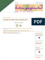 Budin de Pan Con Chocolate _ Mis Dulces Preferidos