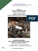 Teatro de La Sensacion Taller de Experimentación Sobre El Guion Literario