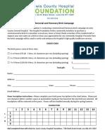 Brick Campaign Order Form 2018