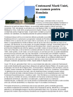 Centenarul Marii Uniri, Un Examen Pentru România