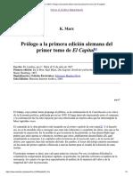 Prólogo a La Primera Edición Alemana Del Primer Tomo de El Capital