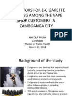 Risk Factors for E-cigarette Smoking Among the Vape