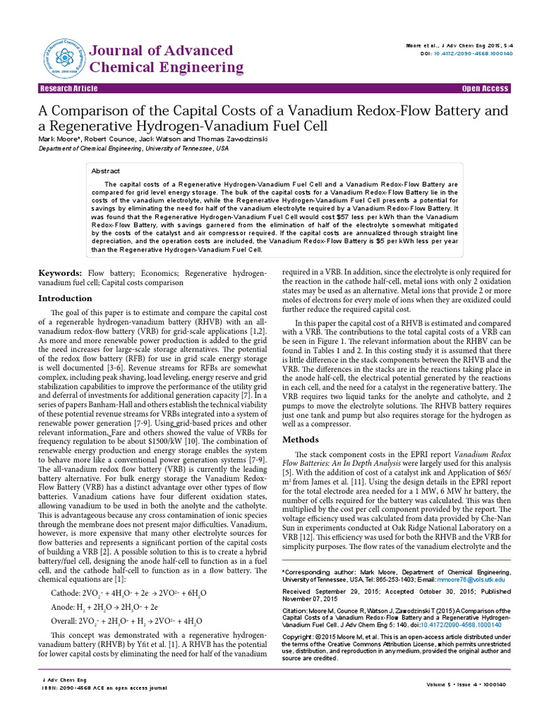 A Comparison of the Capital Costs of a Vanadium Redoxflow Battery