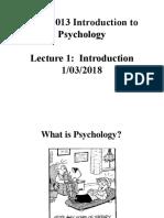 SSYA1013 Chapter 1 - Intro. to Psychology