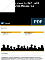 ITM215 - Operations for SAP HANA With SAP Solution Manager 7.2