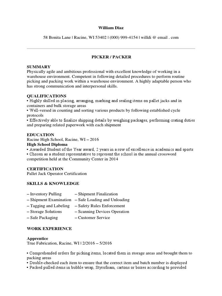 Sample Pick Packer Resume | Warehouse | Forklift
