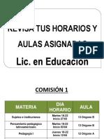 Cartelera Licenciatura en Educación- 1er cuat. 2018