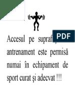 Accesul in sala de sport