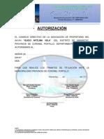 Autorización y Constancia de No Adeudo - Aa.hh Guido Nitzuma Vela