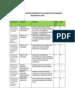 Matriz de evaluación diagnóstica MATE - 5°