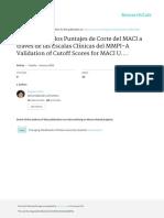 Validacion de Los Puntajes de Corte Del MACI a Tra