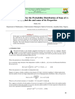 Recursion Formula for the Probability Distribution of Sum of (vu+
