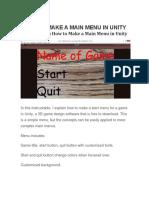 Main Menu in Unity