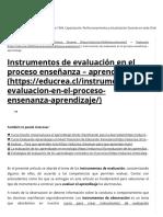 Instrumentos de Evaluación en El Proceso Enseñanza - Aprendizaje - Educrea