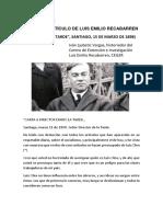 Primer Artículo de Luis Emilio Recabarren, Iván Ljubetic