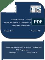 Travaux pratiques de Bases de données