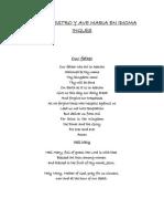 Oración Padre Nuestro y Ave Maria en Idioma Ingles