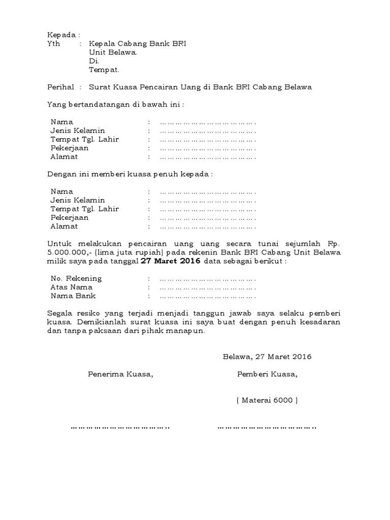 1 Contoh Surat Kuasa Pencairan Dana Di Bank Dalam Bentuk ...