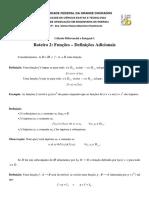Roteiro 2 - Funções - Definições Adicionais