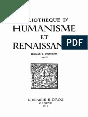 BIBLIOTHEQUE D'HUMANISME ET RENAISSANCE TOME XII NOS. 1 3