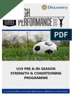 Soccer Programme u19 Pre in Season