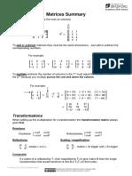 Matrices Summary