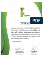 Certificado_IFCiência_2017_Pôster_Otimização de Um Método de Análise de Glifosato Em Amostras Aquosas Por Espectrofotometria