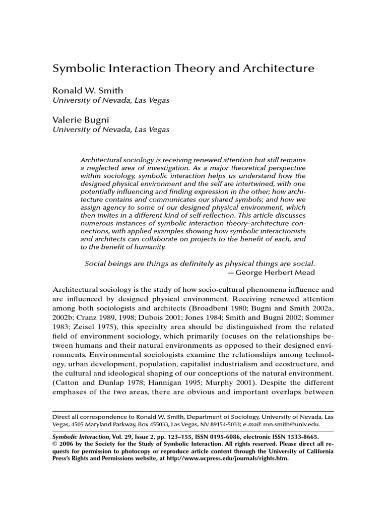 Symbolic Interation Thoery And Architecture Sociology Design