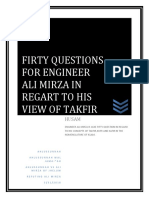 FIRTY QUESTIONS FOR ENGINEER ALI MIRZA IN REGART TO HIS VIEW OF TAKFIR.,REFUTING ALI MIRZA