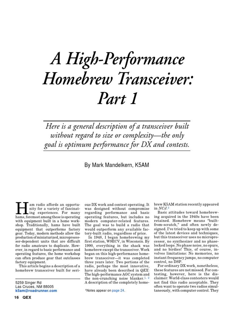A High-Performance Homebrew Transceiver   Radio   Amplifier
