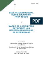 Declaración Mundial Educación