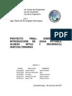 Diseño de Agua Potable Proyecto Cunoc