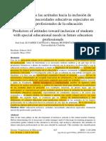 Alvarez J. y Buenestado M, (2014) Predictores de Las Actitudes Hacia La Inclusión De